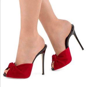 Shoes - Red velvet heels.